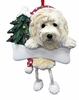 Item # 407011 - Resin Goldendoodle Dangle Christmas Ornament