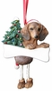 Item # 407012 - Resin Red Dachshund Dangle Christmas Ornament
