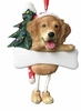 Item # 407014 - Resin Golden Retriever Dangle Christmas Ornament