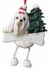 Item # 407023 - Resin Maltese Dangle Christmas Ornament