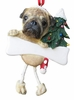 "Item # 407029 - 5"" x 3.5"" Resin Pug Dangle Christmas Ornament"
