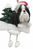 Item # 407036 - Resin Black/White Shih Tzu Adult Dangle Christmas Ornament