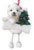 Item # 407039 - Resin Westie Dangle Christmas Ornament