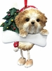 Item # 407050 - Resin Tan/White Shih Tzu Puppy Dangle Christmas Ornament