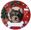 Item # 407058 - Yorkie Pup Circle-Shaped Christmas Ornament