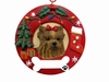 Item # 407068 - Yorkie Circle-Shaped Christmas Ornament