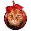 Item # 407150 - Shatterproof Orange Tabby Cat Ball Christmas Ornament