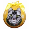 Item # 407151 - Shatterproof Silver Tabby Cat Ball Christmas Ornament