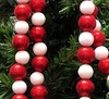 Item # 416155 - 5.625 Foot Red/White Glittered Ball Garland