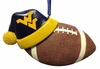 Item # 416161 - West Virginia University Mountaineers Santa Hat With Football Christmas Ornament