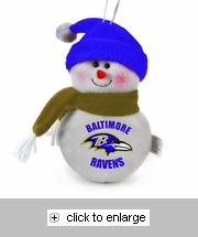Item # 420467 - Baltimore Ravens Snowman Christmas Ornament