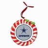 Item # 420919 - Claydough Dallas Cowboys Candy Cane Wreath Christmas Ornament
