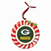 Item # 420921 - Claydough Green Bay Packers Candy Cane Wreath Christmas Ornament