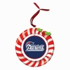 Item # 420922 - Claydough New England Patriots Candy Cane Wreath Christmas Ornament
