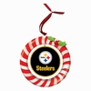Item # 420927 - Claydough Pittsburgh Steelers Candy Cane Wreath Ornament