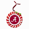 Item # 420929 - Claydough University of Alabama Crimson Tide Candy Cane Wreath Christmas Ornament