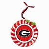 Item # 420932 - Claydough University of Georgia Bulldogs Candy Cane Wreath Christmas Ornament
