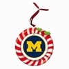 Item # 420935 - Claydough University of Michigan Wolverines Candy Cane Wreath Christmas Ornament