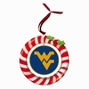 Item # 420940 - Claydough West Virginia University Mountaineers Candy Cane Wreath Christmas Ornament