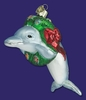 Item # 425017 - Blown Glass Christmas Dolphin Ornament