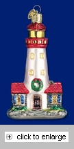 Item # 425040 - Blown Glass Lighthouse Christmas Ornament