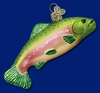 Item # 425102 - Blown Glass Rainbow Trout Christmas Ornament