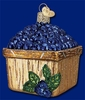 Item # 425160 - Blown Glass Basket Of Blueberries Christmas Ornament
