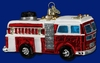Item # 425166 - Blown Glass Fire Truck Christmas Ornament