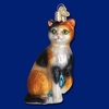 Item # 425177 - Blown Glass Calico Cat Christmas Ornament