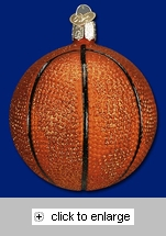 Item # 425215 - Blown Glass Basketball Christmas Ornament