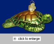 Item # 425228 - Blown Glass Green Sea Turtle Ornament