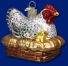 Item # 425246 - Blown Glass Hen On Nest Christmas Ornament