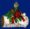 Item # 425276 - Blown Glass Yule Log Christmas Ornament