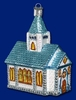 Item # 425337 - Blown Glass Romantic Church Ornament