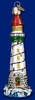 Item # 425343 - Blown Glass Holiday Lighthouse Ornament