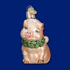 Item # 425408 - Blown Glass Holly Pig Christmas Ornament