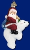 Item # 425459 - Blown Glass Glistening Santa On Bear Christmas Ornament