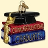 Item # 425530 - Blown Glass Congratulations Graduate Cap & Books Ornament