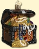 Item # 425533 - Blown Glass Treasure Chest Christmas Ornament