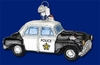Item # 425707 - Blown Glass Police Car Christmas Ornament