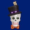 Item # 425749 - Blown Glass Top Hat Skeleton Christmas Ornament