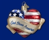 Item # 425756 - Blown Glass God Bless America Heart Christmas Ornament