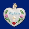Item # 425757 - Blown Glass Baptism Heart Christmas Ornament