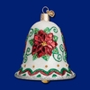 Item # 425769 - Blown Glass Poinsettia Bell Christmas Ornament