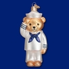 Item # 425785 - Blown Glass Navy Bear Christmas Ornament