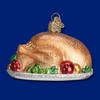 Item # 425824 - Blown Glass Turkey Platter Christmas Ornament