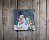 Item # 456051 - Lighted Snowfamily Canvas Wall Hanging