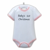 Item # 459036 - Pink Onesie Baby's First Christmas Ornament