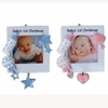 Item # 459072 - Blue/Pink Baby's First Christmas Photo Frame Christmas Ornament
