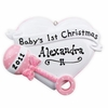 Item # 459102 - Pink Heart Baby Rattle Christmas Ornament